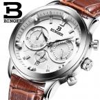швейцария luxury relogio masculino binger бренд кварцевые полный нержавеющей часы хронограф diver glowwatch b9011-3