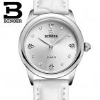 Швейцария Бингер женские часы роскошные кварцевые водонепроницаемые часы 4 цвет кожаный ремешок Наручные Часы BG9006