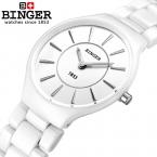 Швейцария binger керамические кварцевые часы женщины любителей моды стиль люксовый бренд наручные часы водонепроницаемость b8006