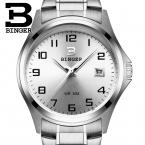 Швейцария luxury мужские часы БИНГЕР бренд кварцевые полный нержавеющей часы Водонепроницаемый Полный Календарь Гарантия B3052A7