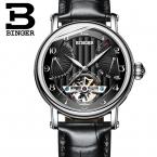 Швейцария часы мужские люксовый бренд BINGER бизнес сапфир Водонепроницаемость кожаный ремешок Механические Наручные Часы B-1172-2