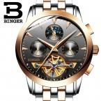 Швейцария Роскошные мужские часы Бингер бренд механические наручные часы сапфир Полный нержавеющей стали B1188-6