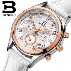 Швейцария Бингер женские часы роскошные кварцевые водонепроницаемые часы кожаный ремешок Хронограф Наручные Часы BG6019-W6