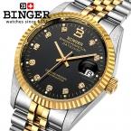 Швейцария Наручные Часы BINGER 18 К золотые часы мужчины самостоятельно ветер с автоматическим заводом механических Наручных ЧАСОВ BG-0373