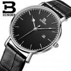 Швейцария binger мужская часы люксовый бренд кварц кожаный ремешок ультратонкий полный календарь наручные часы водонепроницаемый b3053m-2
