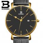 Швейцария binger мужская часы люксовый бренд кварц кожаный ремешок ультратонкий полный календарь наручные часы водонепроницаемый b3053m-5