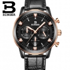 швейцария luxury мужские часы binger бренд кварцевые полный нержавеющей часы хронограф diver glowwatch b9011-8