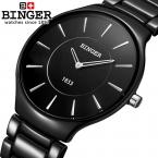 Швейцария люксовый бренд наручные часы binger пространство керамические кварцевые мужские часы любителей стиль водонепроницаемость часы b8006b-2