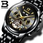 Швейцария BINGER часы мужские полное Календарь Tourbillon сапфир несколько функций Водонепроницаемые Механические Наручные Часы B8608M4