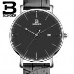 Швейцария binger женские ваче люксовый бренд кварц кожаный ремешок ультратонкий полный календарь наручные часы водонепроницаемый b3053w-2