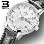 Швейцария БИНГЕР часы Женская мода Роскошные Relogio feminino ультратонкий кварцевые glowwatch кожаный ремешок наручные часы B3036G-4