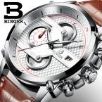 Швейцария luxury мужские часы binger бренд кварцевые большой циферблат дизайнер хронограф водонепроницаемость часы b-9018-4