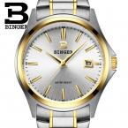 Швейцария luxury мужские часы БИНГЕР бренд кварцевые полный нержавеющей часы Водонепроницаемый Полный Календарь Гарантия B3052A9