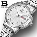 Швейцария Бингер женские часы моды роскошь часы ультратонкий кварцевые glowwatch полный нержавеющей стали Наручные Часы B3036G