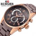 Швейцария мужские часы люксовый бренд наручные часы Бингер кварцевые часы полный из нержавеющей стали Хронограф дайвер glowwatch BG-0407-6