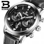 швейцария luxury мужские часы binger бренд кварцевые полный нержавеющей наручные часы хронограф diver часы b9011-4