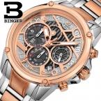 Швейцария мужские часы люксовый бренд наручные часы binger кварцевые часы полный нержавеющей стали хронограф diver glowwatch b-6008-3