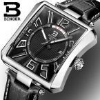Швейцария БИНГЕР мужские часы люксовый бренд Шторка Кварц водонепроницаемый кожаный ремешок Наручные Часы B3038-2