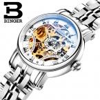 Швейцария luxury женские часы БИНГЕР бренд Выдалбливают Механические Наручные Часы сапфир полный нержавеющей стали часы B-5066L6