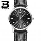 Швейцария БИНГЕР женщины часы люксовый бренд кварц кожаный ремешок ультратонкий Наручные Часы Водонепроницаемый B3051W-5