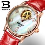 Швейцария binger женские часы моды роскошные часы кожаный ремешок автоподзаводом турбийон механические наручные часы b553