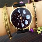 женские часы часы женские наручные solar watch солнечные часы лунное затмение кожаный браслет бренд Geneva