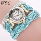CCQ  Новая Мода Повседневная Кварцевые Женщины Горный Хрусталь Смотреть Плетеный Кожаный Браслет Часы  Relogio Feminino Подарков 1739