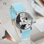 FD Микки Маус узор модные женские туфли часы Новинка  года Повседневная кожаный ремешок часы для девочек Детские кварцевые наручные часы Relogio feminino