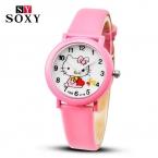 Детские Hello Kitty часы для девочек, Кожанный ремешок, кварцевый механизм.