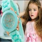 мини Женева дети часы для девочек женские золотые наручные часы Резиновая Gold Повседневное платье часы модная детская дропшиппинг