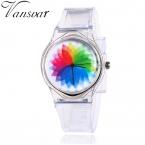 Vansvar бренд моды желе силиконовые прозрачные пластиковые часы дети симпатичного милого уникальный дети студентов смотреть подарок 2097