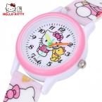 Мультфильм часы рисунок «Hello Kitty» часы девочки Прекрасный Розовое платье наручные часы для детей милый ребенок бренд Силиконовые Relogio Montre Enfant