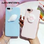 Lovecom телефона чехол для iPhone 5 5S SE 6 6 S 7 Plus 3D забавные мягкими игрушками Давление выпуска милые печать Кошачий коготь ТПУ Мягкая задняя крышка