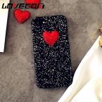 LOVECOM DIY Сердце Любовь Блеск Порошок Роскошные Блестки Телефон Случае для Iphone 7 7 Плюс 6 6 S Плюс 5 5S SE Жесткий PC Задняя Крышка Coque