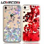 Lovecom Роскошные сердце любовь динамический жидкость зыбучие пески пайетки телефона чехол для iPhone 5S 6 6 S 7 плюс мягкая TPU Рама задняя крышка Coque