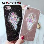 Lovecom прекрасный 3D летом мороженое чехол для телефона iPhone 6 6 S 7 7 Plus Сияющий Блеск порошок мягкий ТПУ задняя крышка Coque