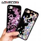 Lovecom телефона чехол для iPhone 5S 6 6 S 7 Plus сердце любовь динамический жидкость зыбучие пески Мягкие TPU черная рамка Телефон задняя крышка случаях