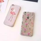 Lovecom мультфильм Фламинго печати Блеск порошок Мягкие TPU телефон задняя крышка Ясно Телефон чехол для iPhone 6 S 7 плюс протектор