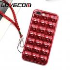 Китайский красный 3D Роскошные Гальванизируйте сердце любовь чехол для телефона iPhone 7 6 6S плюс милые шнур Мягкие TPU сзади Чехол Коке лучший подарок