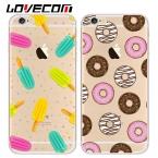 Ultra Slim Transapent Пончики мороженое Телефон Случаях Для iPhone 5 5S SE 6 6s 7 Плюс Женщины Милый Крышки Мобильного Телефона