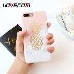 Lovecom Мода ананас Золотой телефона Чехлы для iPhone 6 6 Plus 7 7 плюс мягкая IMD текстура мрамора задняя крышка Coque
