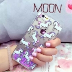 LOVECOM Лошадь Динамически Жидкостное Зыбучие Пески Сердце Жесткий Телефон Задняя Крышка Случаях Для iPhone 5 5C 5S SE 6 6 S 7 Плюс  Капа Делам