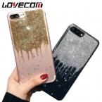 LOVECOM Бренд Телефон Случае Для iPhone 6 6 S 7 Плюс Горячий Блеск порошок Drift Песок Мягкий ТПУ Прозрачный Телефон Задняя Крышка Случаях I6 I7
