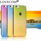 LOVECOM Градиент Конфеты Цвет Tranparent Мягкой ТПУ Телефон Задняя Крышка чехол Для IPhone 4 4S 5 5S 6 6 S 7 плюс