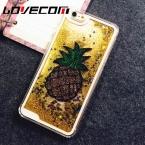 LOVECOM DIY Телефон Чехол Для iPhone 4 5C 4S 5 5S SE 6 6 S 7 Плюс Ананас Блеск Звезд Динамический Зыбучие Пески Телефон Задняя Крышка случаях