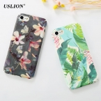 Uslion Мода цветок листья краски чехол для телефона iPhone 7 6 6S плюс матовое жесткие корпуса задняя крышка Капа Coque для iPhone7Plus