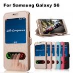 Роскошные Флип Чехол Для Samsung Galaxy S6 G9200 шелк узор окном View кожаный чехол для Samsung S6 G9200 Сумки с Стенд Дизайн