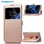 Тонкий сетки Coque для Galaxy S6 Чехол Флип Бумажник Стенд из искусственной кожи окошком для Samsung S6 G9200 G920f G920i G920A чехол телефона