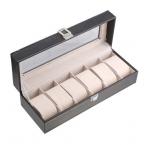 6 слотов кожаный чехол Дисплей коробка для хранения Организатор Оконный Для Запястья Часы lxh
