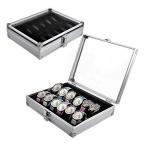 поступление  года Полезная 6/12 Сетка Слоты ювелирные изделия Часы алюминиевый сплав Дисплей коробка для хранения случае